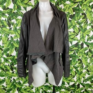 Blank NYC Gray Vegan Leather Drape Front Jacket